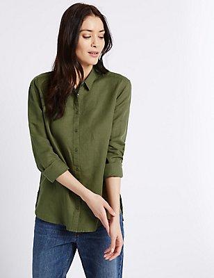 Linen Rich Long Sleeve Shirt, KHAKI, catlanding