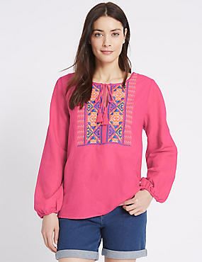 Linen Rich Printed Long Sleeve Blouse, MAGENTA MIX, catlanding
