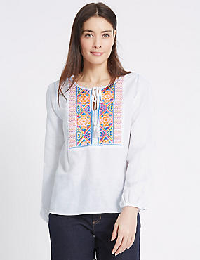 Linen Rich Printed Drawstring Tassel Blouse, WHITE MIX, catlanding