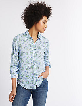 Pure Modal Ditsy Print Long Sleeve Shirt, IVORY MIX, catlanding