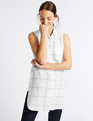 Linen Rich Striped Longline Shirt, WHITE MIX, catlanding