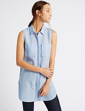 Linen Rich Longline Sleeveless Shirt, CHAMBRAY, catlanding