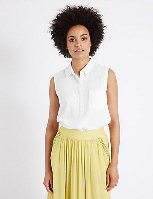 Linen Rich Sleeveless Shirt, WHITE, catlanding