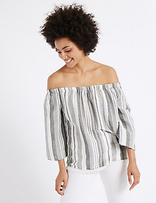 Linen Rich Striped 3/4 Sleeve Bardot Top, BLACK/WHITE, catlanding