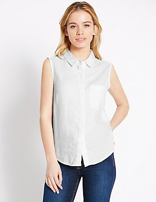 PETITE Linen Blend Sleeveless Shirt, WHITE, catlanding