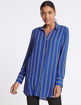 Striped Longline Long Sleeve Shirt, BLUE MIX, catlanding