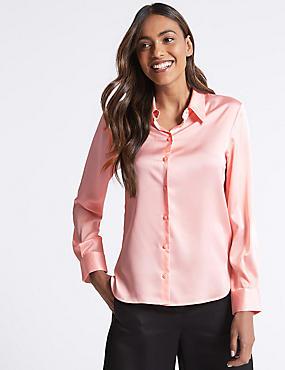 Plain Satin Sleeve Detail Shirt, BLUSH, catlanding