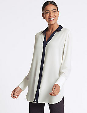 Contrast Trim Longline Long Sleeve Shirt, IVORY MIX, catlanding