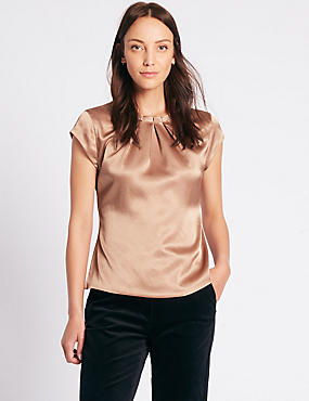 Pleat Front Satin Cap Sleeve Shell Top, BRONZE, catlanding