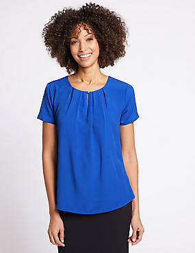 Pleat Front Short Sleeve Shell Top, ROYAL BLUE, catlanding