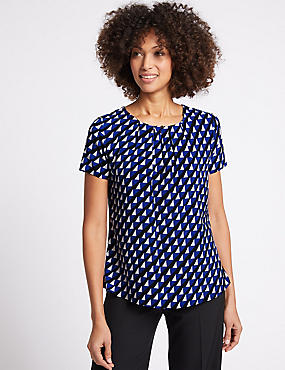 Pleat Front Geometrical Print Shell Top, BLUE MIX, catlanding