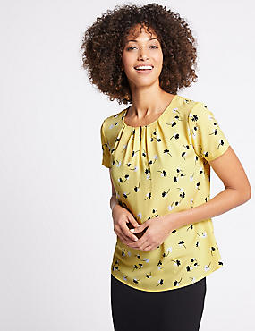 Floral Print Pleated Short Sleeve Shell Top, LIME MIX, catlanding