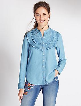 Pure Cotton Ruffle Shirt, DENIM, catlanding