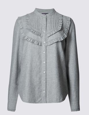 Рубашка из чистого хлопка в стиле кантри с оборками M&S Collection T436796B