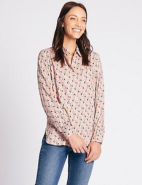 Bird Print Long Sleeve Shirt, PINK MIX, catlanding
