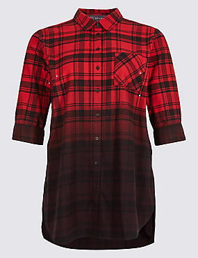 Pure Cotton Checked Longline Shirt , RED MIX, catlanding