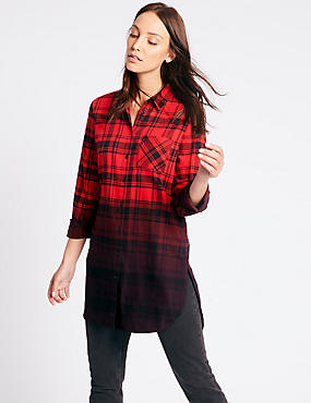 Pure Cotton Checked Longline Shirt, RED MIX, catlanding