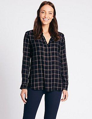 Lurex Checked Long Sleeve Shirt, NAVY MIX, catlanding