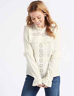 PETITE Ruffle Round Neck Long Sleeve Blouse, CREAM, catlanding