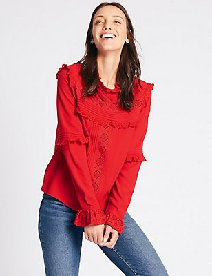 Ruffle Round Neck Long Sleeve Blouse, LACQUER RED, catlanding