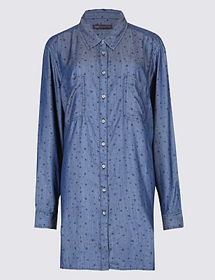 PLUS Denim Star Print Longline Shirt, DENIM MIX, catlanding