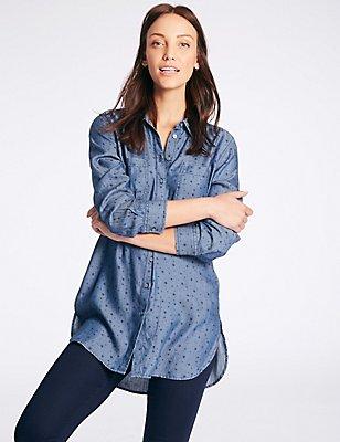 Denim Star Print Longline Shirt, DENIM MIX, catlanding
