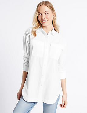 Pure Cotton Curved Hem Long Sleeve Shirt, WHITE, catlanding
