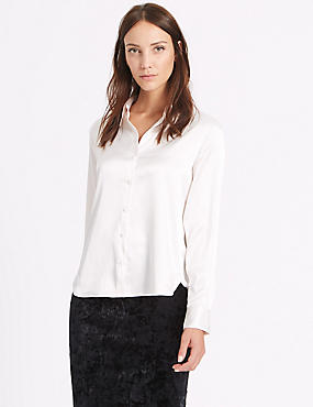 Satin Long Sleeve Shirt, IVORY, catlanding
