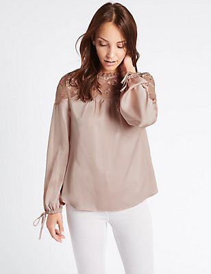 Embroidered Yoke Long Sleeve Blouse, DUSTED PINK, catlanding