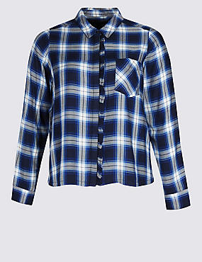 PLUS Checked Ruffle Long Sleeve Shirt, BLUE MIX, catlanding
