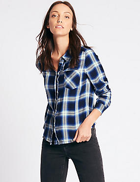 Checked Ruffle Long Sleeve Shirt, BLUE MIX, catlanding