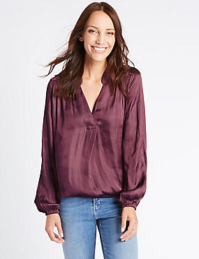 Popover Notch Neck Long Sleeve Blouse, MULBERRY, catlanding