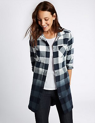 Pure Cotton Checked Ombre Longline Shirt, NAVY MIX, catlanding