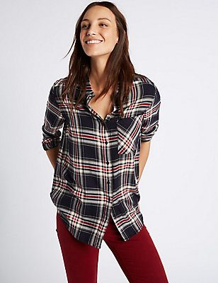 Checked Long Sleeve Shirt, NAVY MIX, catlanding