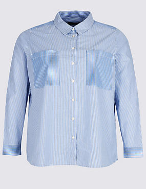 PLUS Pure Cotton Striped Long Sleeve Shirt, BLUE MIX, catlanding