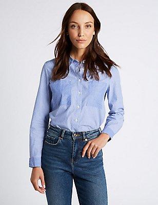 Pure Cotton Striped Long Sleeve Shirt, BLUE MIX, catlanding