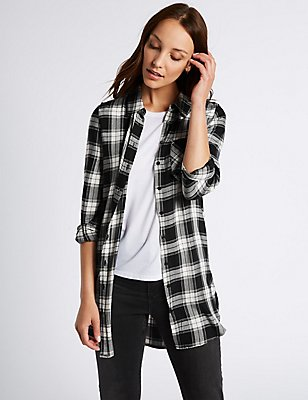 Longline Checked Long Sleeve Shirt, BLACK MIX, catlanding