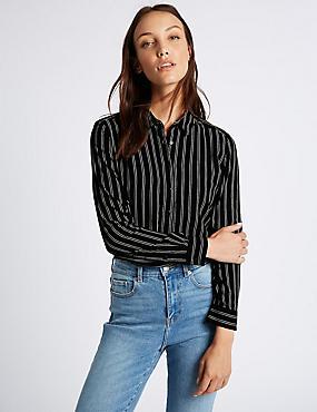 Striped Long Sleeve Shirt, NAVY MIX, catlanding