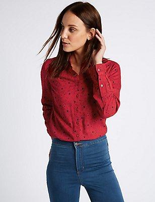 Star Print Long Sleeve Shirt, RED MIX, catlanding