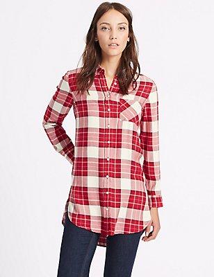 Checked Longline Long Sleeve Shirt, IVORY MIX, catlanding