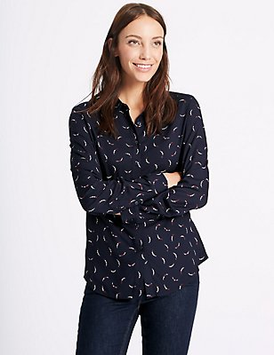 Printed Long Sleeve Shirt, NAVY MIX, catlanding