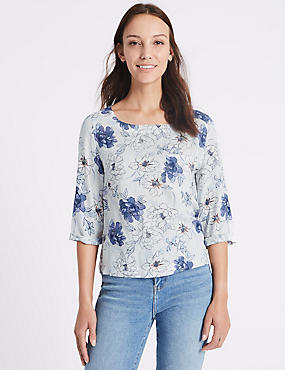 Floral Print 3/4 Sleeve Shell Top, BLUE MIX, catlanding