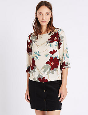 Floral Print 3/4 Sleeve Shell Top, PINK MIX, catlanding