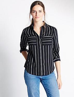 Long Sleeve Striped Shirt, NAVY MIX, catlanding
