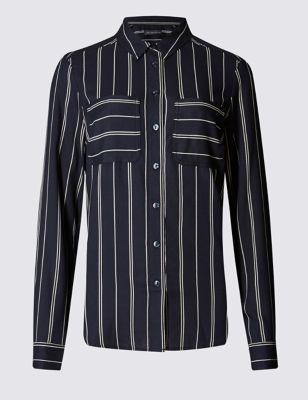 Деловая рубашка в полоску с накладными карманами M&S Collection T436890B