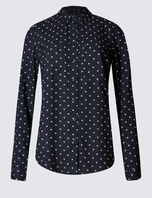 Рубашка из вискозы с мелкими звёздочками M&S Collection T436893B