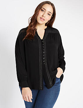 PLUS Long Sleeve Embroidered Shirt, BLACK, catlanding