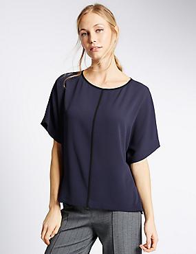 Contrasting Edge Kimono Shell Top, NAVY, catlanding