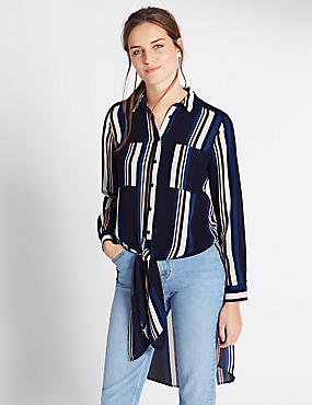 Long Sleeve Striped Shirt, NAVY MIX, catlanding