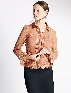 Lace Long Sleeve Shirt, BLUSH, catlanding